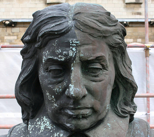 Head of Cromwell's statue outside Parliament